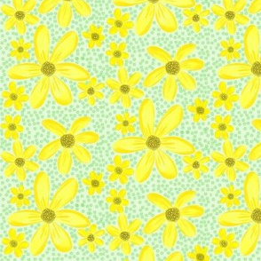 Darling Daisies on the Dotty Green Field
