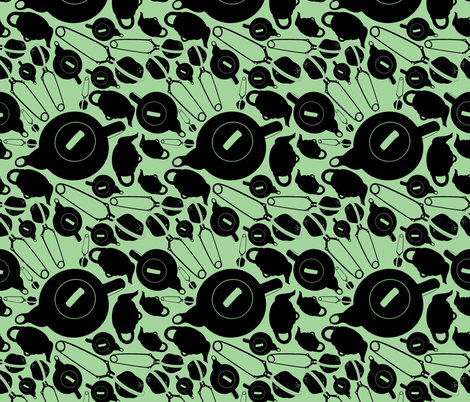 Time to make tea fabric by collated_weirdness on Spoonflower - custom fabric