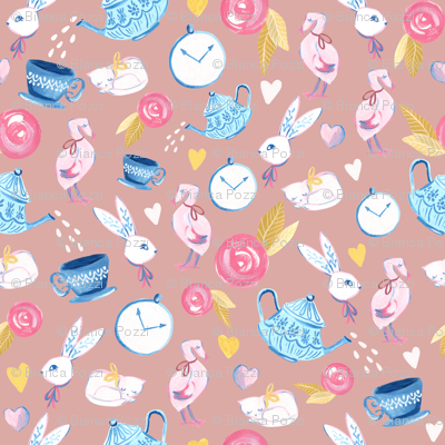 Alice in Wonderland/ ALice in Wonderland Fabric/ Bunny/ Romantic fabric