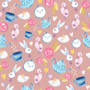 Alice in Wonderland/ ALice in Wonderland Fabric/ Bunny/ Romantic fabric