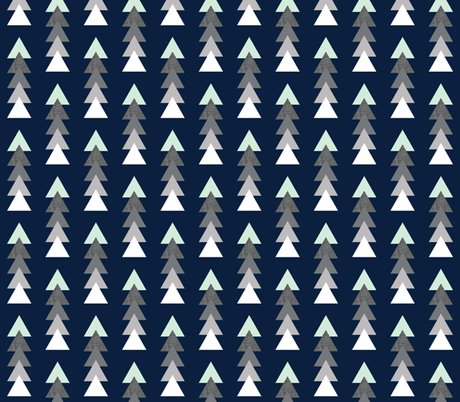 into the wild triangle stack // navy fabric by ivieclothco on Spoonflower - custom fabric