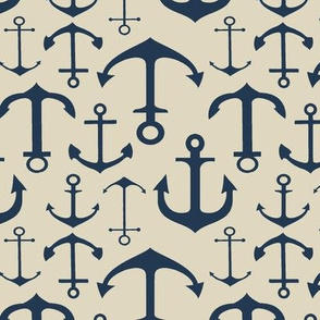 Navy Anchors on Spanish White