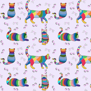 Colorful Cross-stitch Cats on a pale purple lattice background