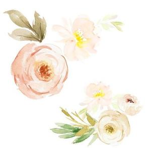"""10.5""""  Light Peach Florals"""