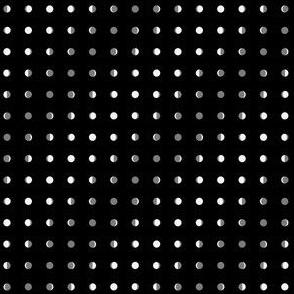 pindot moon phases on black