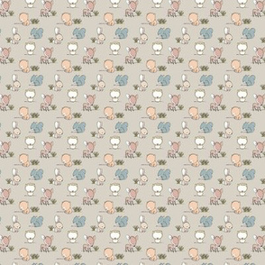 (micro) woodland babies  || grass on beige