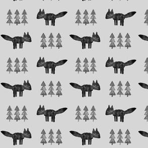 monochrome fox and trees (fog)  || watercolor fabric