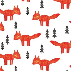 watercolor fox - woodland fabric