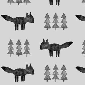 monochrome fox and tree (fog) || watercolor fabric