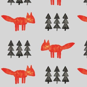 watercolor fox and trees (fog) || woodland fabric