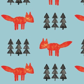 watercolor fox and trees || blue woodland fabric