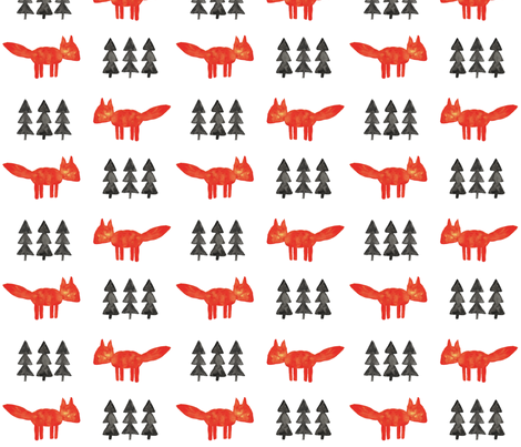 watercolor fox and tree || white fabric by littlearrowdesign on Spoonflower - custom fabric