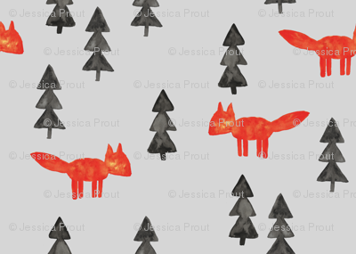 fox woods on fog    watercolor