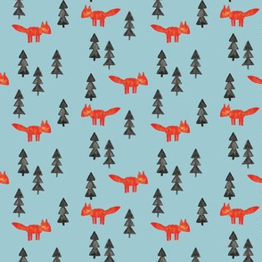 fox woods on blue || watercolor fabric