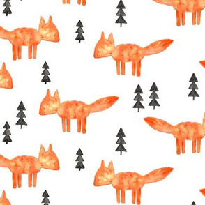 watercolor orange fox || woodland fabric