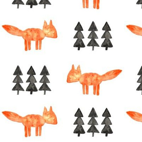 watercolor fox and trees || orange fox
