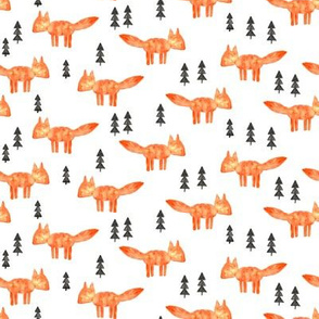 watercolor orange fox (small scale) || woodland fabric