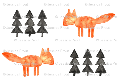 watercolor fox and trees (small scale) || orange fox