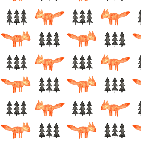 watercolor fox and trees (small scale) || orange fox fabric by littlearrowdesign on Spoonflower - custom fabric