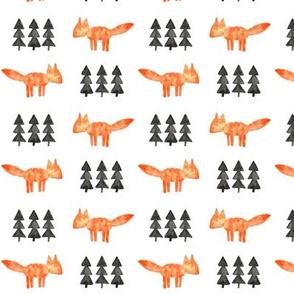 watercolor fox and trees (small scale) || orange fox