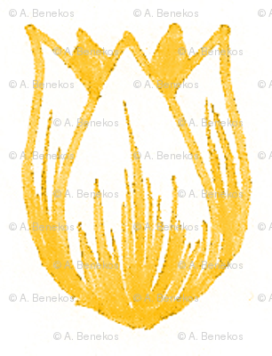 Doodle Tulip (Yellow on White)