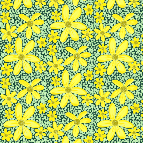 Golden Wildflowers on Vintage Green fabric by rhondadesigns on Spoonflower - custom fabric