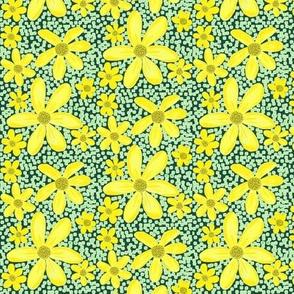 Golden Wildflowers on Vintage Green