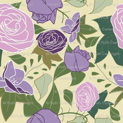 lilac silk roses