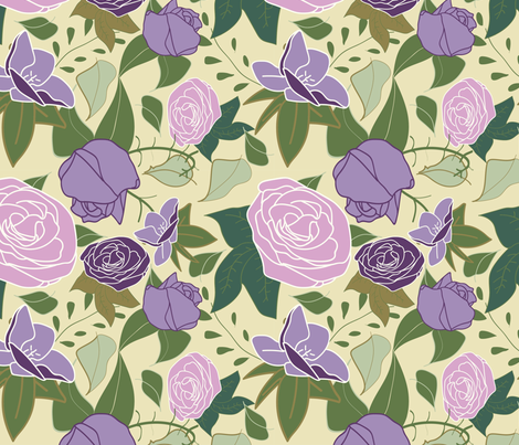 lilac silk roses fabric by craftwithcartwright on Spoonflower - custom fabric