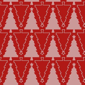Graphic Christmas trees_Red and pink