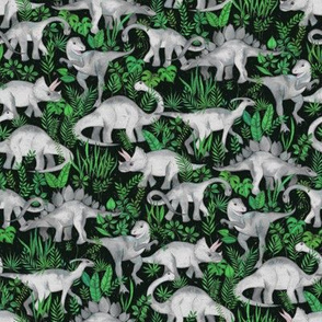 Dinosaur Jungle green small print