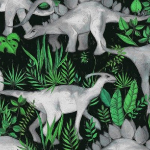Dinosaur Jungle green large print