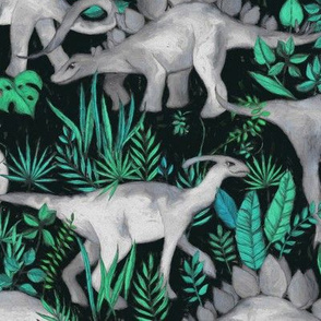 Dinosaur Jungle green and teal large print