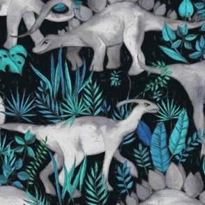 Dinosaur Jungle blue and teal large print