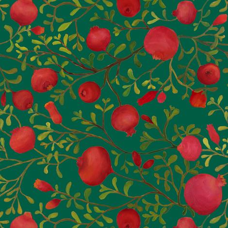 Pomegranate Garden fabric by ceciliamok on Spoonflower - custom fabric