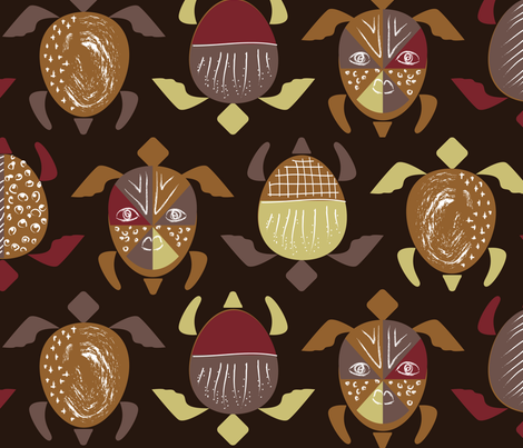 TurtleCeremony-Brown fabric by happyhappymeowmeow on Spoonflower - custom fabric