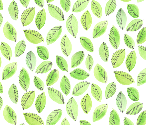Greenery Leaves by autumnvdesigns fabric by autumnvdesigns on Spoonflower - custom fabric