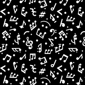 Music Notes on Black BG medium scale