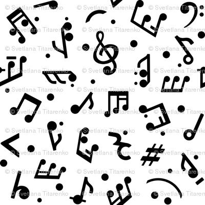 Music Notes on White BG medium scale