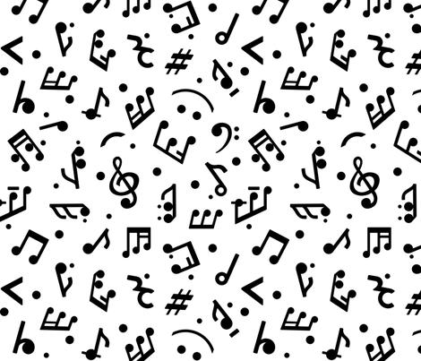 Music Notes on White BG medium scale fabric by happyart on Spoonflower - custom fabric