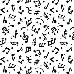Music Notes on White BG medium scale