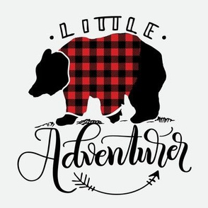 "8"" Quilt block - Little adventurer bear with buffalo plaid"