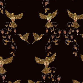 Golden Hummingbirds with bleeding hearts by Salzanos