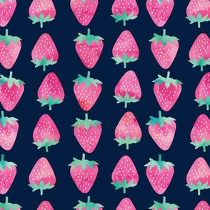 strawberries - watercolor pink on navy