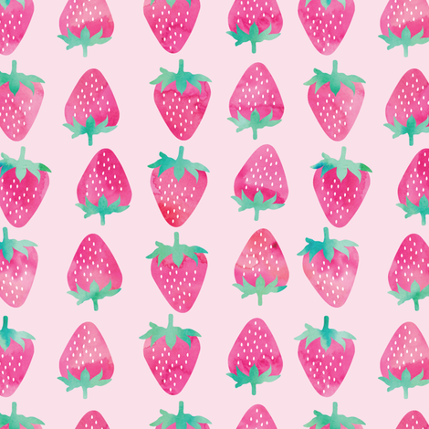 strawberries - pink watercolor on pink fabric by littlearrowdesign on Spoonflower - custom fabric