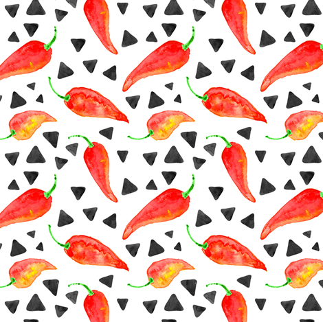 chili peppers with triangles || watercolor fabric  fabric by littlearrowdesign on Spoonflower - custom fabric