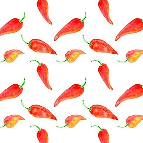 chili pepper watercolor fabric