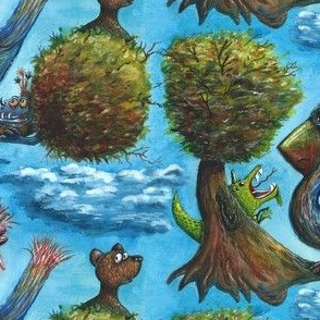strange bird in a strange land watercolor, large scale. blue green