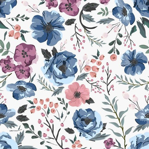 Berry Meadow Floral on Cream