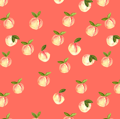 watercolor peaches  fabric by littlearrowdesign on Spoonflower - custom fabric